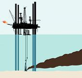 Vector illustration of an oil deep sea pollution