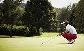 Jogador de golfe feminino com o taco de cócoras para estudar o verde no campo de golfe.