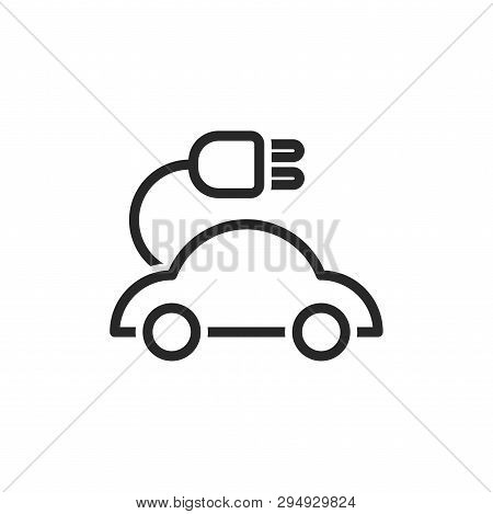 poster of Electric Car Icon Isolated On White Background. Electric Car Icon In Trendy Design Style. Electric C