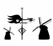 Galo de aleta do vento e os moinhos