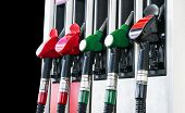 Gasoline And Diesel Distributor At The Gas Station. Gas Pump Nozzles. Petrol Filling Gun Close-up At poster