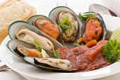 Mussels with Garlic Tomato Sauce