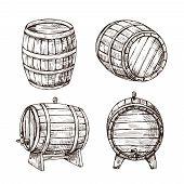 Sketch Barrels. Whiskey Oak Casks. Wooden Wine Barrel In Vintage Engraving Style. Bar, Pub And Brewe poster
