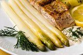 Asparagus With Salmon , Lemon And Savory Sauce, Dill poster