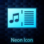Glowing Neon Music Book With Note Icon Isolated On Brick Wall Background. Music Sheet With Note Stav poster