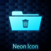 Glowing Neon Delete Folder Icon Isolated On Brick Wall Background. Folder With Recycle Bin. Delete O poster