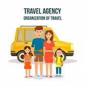 Travel Agency. Organization Of Travel Square Banner. Happy Family With Kids Stand At Orange Car. Cou poster