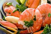 Seafood plate with shrimps and mussels