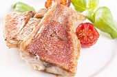 stock photo of red snapper  - Red snapper steak - JPG