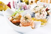 Spanish Tapas with seafood and pickled feta