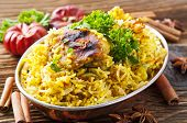 stock photo of biryani  - Chicken biryani with spices - JPG