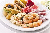 Antipasti with seafood and feta cheese