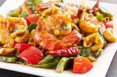 stock photo of creole  - Prawns stir fried with chili - JPG