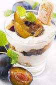 Plum dessert with mascarpone