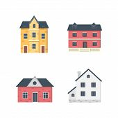 Suburban Private Houses. House Exterior. Vector Urban Building Icons Set. poster
