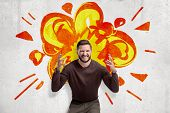 Young Man In Casual Clothes Making Brain Explosion Gesture With Cartoon Explosion Drawn On White Wal poster