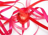 Süßigkeiten Sie in Folie rot und rot Satinband