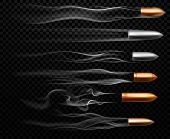 Flying Bullet Traces. Shooting Military Bullets Smoke Trace, Handgun Shoot Trails And Realistic Shoo poster