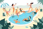 Swimming Pool Party. Summer Outdoors People In Swimwear Swim Together And Rubber Ring Floating In Po poster