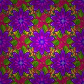 A Pattern Of Green, Purple And Magenta Daisies On A Green, Purple And Magenta Colors. Vector Illustr poster