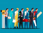 Group Of People Career Characters. Labor Day. Concept Career Character Vector Illustration. poster