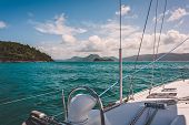 Sailboat Sailing On A Warm Beautiful Day In The Whitsunday Islands On The Great Barrier Reef In Aust poster