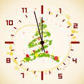 Merry christmas clock with fir 1, editable vector illustration