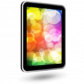 Touch tablet PC 6 (black, vertical, with wallpaper). Vector Illustration.