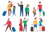 Travel Characters. Travelling Group, Family Couple Holiday Vacation And Sightseeing Travels Tourists poster