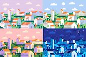 Minimal Style Town. Geometric Minimalist City, Daytime Cityscape And Night Townscape Flat Vector Ill poster