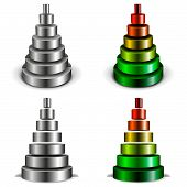 stock photo of cylinder pyramid  - illustration of different sliced metallic cylinder pyramids - JPG