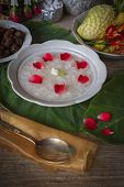 Khao-chae, Cooked Rice Soaked In Iced Water In The White Bowl And Eaten With The Usual Complementary poster