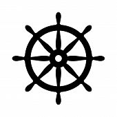 Nautical Black Helm Isolated On White. Ship And Boat Steering Wheel Sign. Boat Wheel Control Icon. R poster