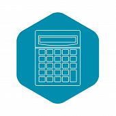 Calculator Math Device Icon. Outline Illustration Of C Alculator Math Device Vector Icon For Web poster