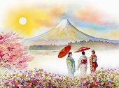 Travel Mount Fuji Of Japan - Famous Landmarks Of The Asian. Woman Wearing Japanese Traditional Kimon poster