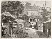 American legation in Yedo (Tokyo) old illustration. Created by Therond after photo by unknown author