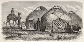 Kalmyk encampment old illustration, Russia. Created by Moynet, published on Le Tour du Monde, Paris,