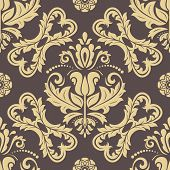 Classic Seamless Golden Pattern. Damask Orient Ornament. Classic Vintage Background poster