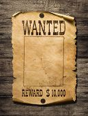 Wanted wild west poster on wood background poster