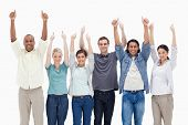 People raising their arms with the thumbs-up against white background