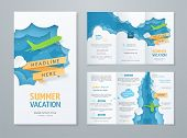 Travel Tri-fold Brochure With 3d Scene With Paper Cut Objects (airplane, Clouds, Ribbon) On Blue Bac poster
