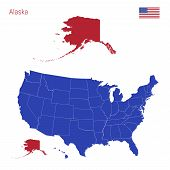 The State Of Alaska Is Highlighted In Red. Blue Vector Map Of The United States Divided Into Separat poster
