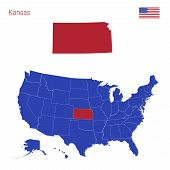 The State Of Kansas Is Highlighted In Red. Blue Vector Map Of The United States Divided Into Separat poster