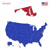 The State Of Maryland Is Highlighted In Red. Blue Vector Map Of The United States Divided Into Separ poster