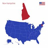The State Of New Hampshire Is Highlighted In Red. Blue Vector Map Of The United States Divided Into  poster