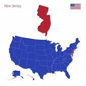 The State Of New Jersey Is Highlighted In Red. Blue Vector Map Of The United States Divided Into Sep poster