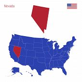 The State Of Nevada Is Highlighted In Red. Blue Vector Map Of The United States Divided Into Separat poster