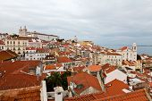 Panorama Of Recently Restored Alfama Quarter In Lisbon, Portugal