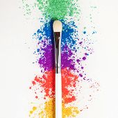 Bright Eye Shadows In Different Colors Of The Rainbow And Brushes For Cosmetics On A White Backgroun poster