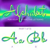 3d Neon Led Alphabet Font. Logo A Letter, B Letter With Rounded Shapes. Matte Three-dimensional Lett poster